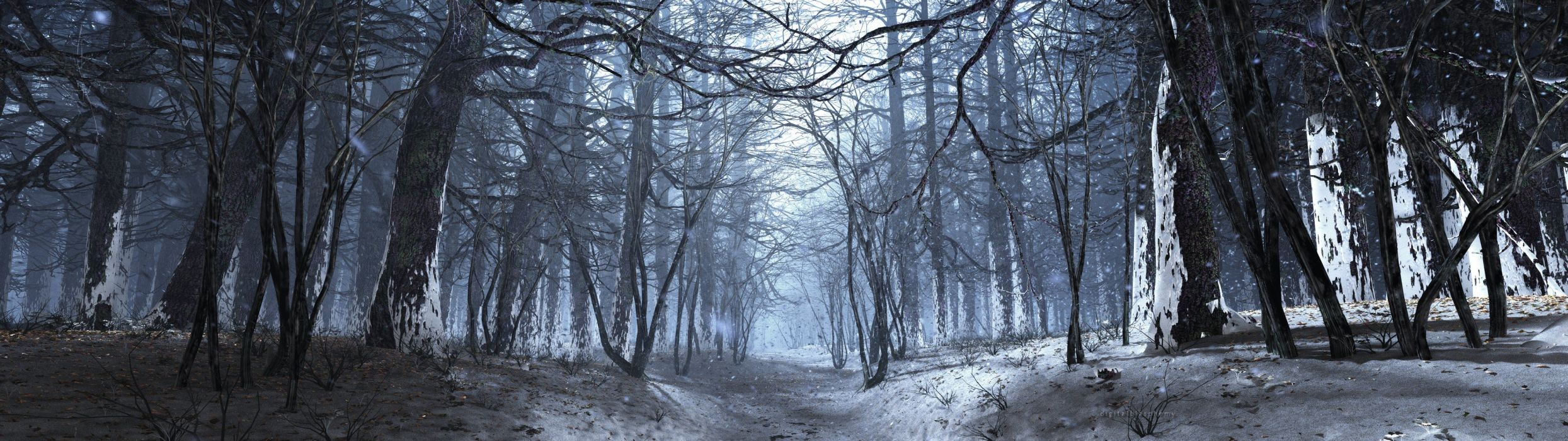 landscapes winter forests multiscreen wallpaper