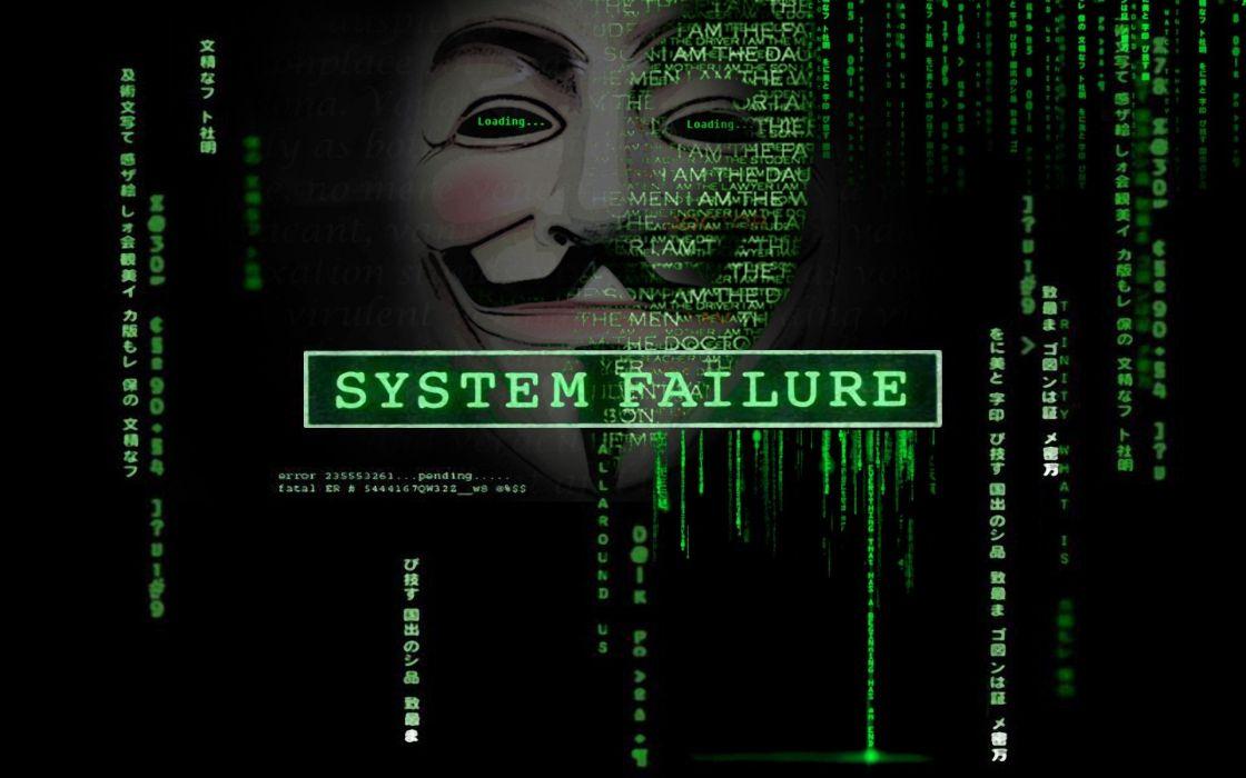 green Anonymous computers Matrix code Guy Fawkes V for Vendetta hacktavist wallpaper