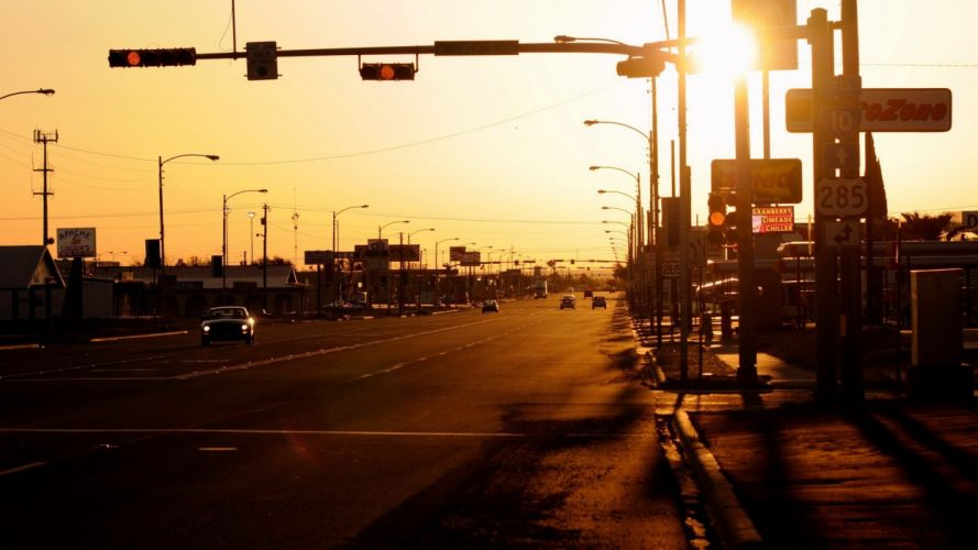 sunset Sun cityscapes streets lights cars USA traffic wallpaper