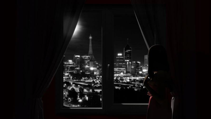 black and white artwork window panes city skyline Shades wallpaper