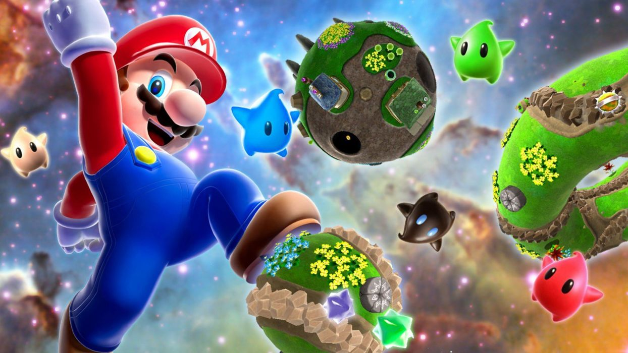 Nintendo video games galaxies Mario jumping Super Mario Galaxy arms raised wallpaper