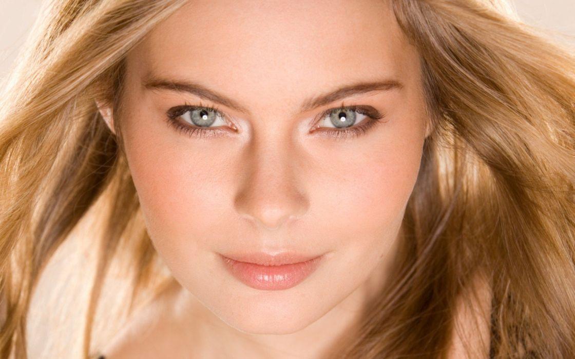 blondes women close-up eyes blue eyes Playboy magazine faces Amanda Streich wallpaper