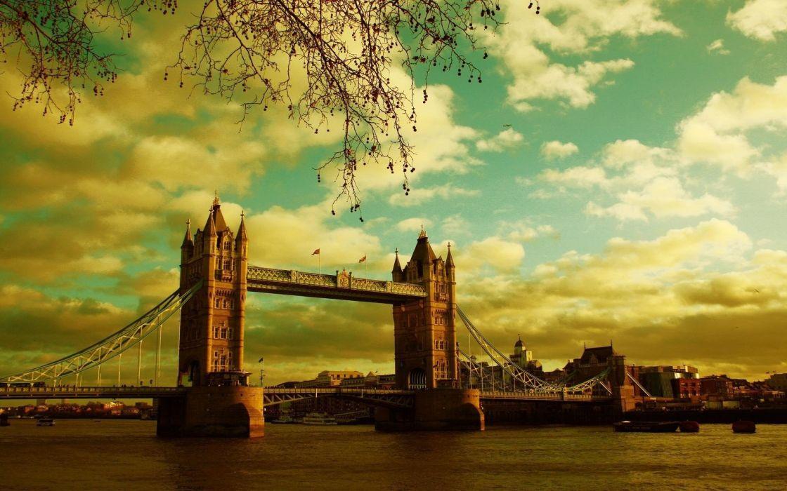 cityscapes London bridges wallpaper