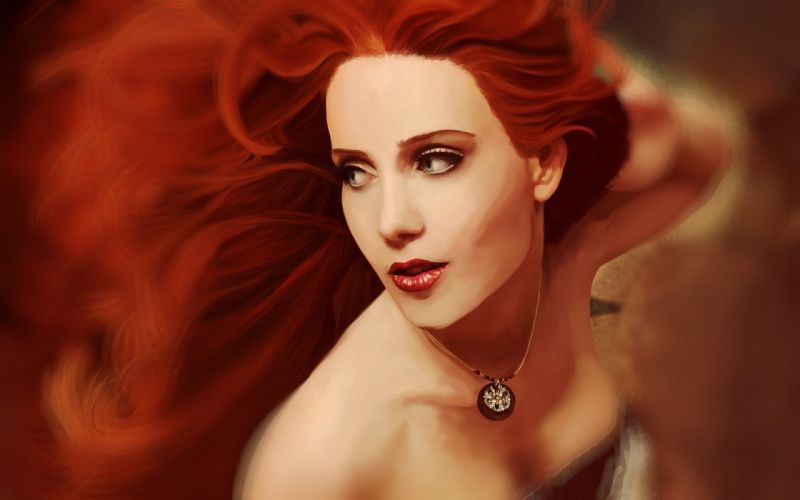 women eyes red redheads Simone Simons drawings faces wallpaper