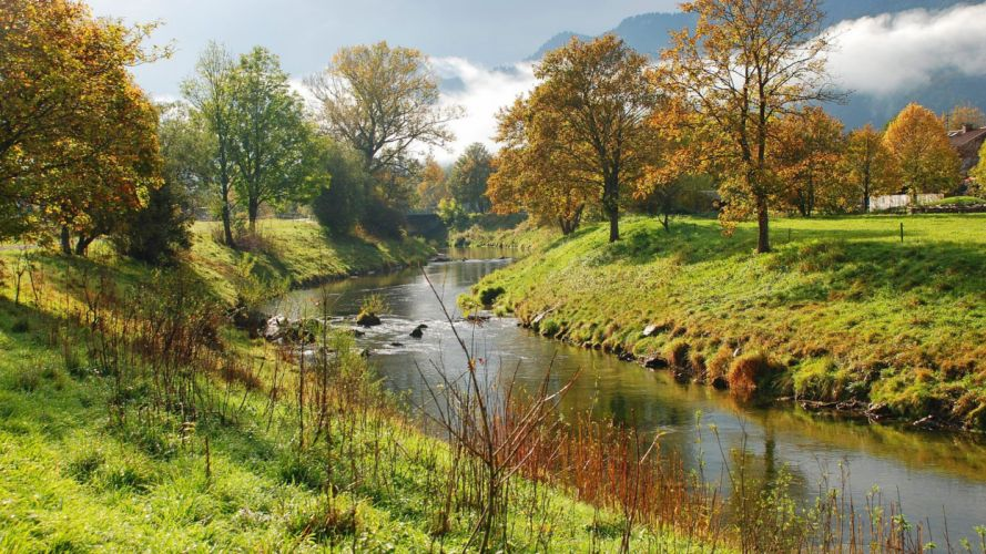 landscapes nature trees rivers landmark wallpaper