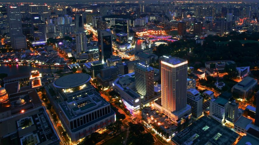 cityscapes Singapore city lights citynight wallpaper