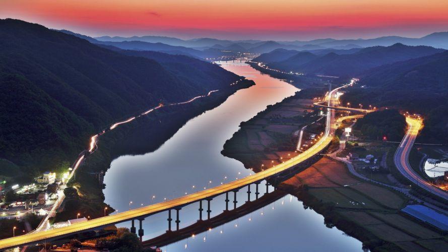 sunset bridges city lights rivers South Korea wallpaper