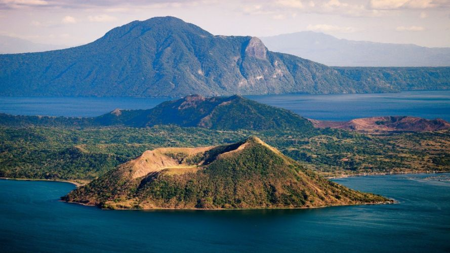 green water blue landscapes nature volcanoes grass hills islands lakes wallpaper