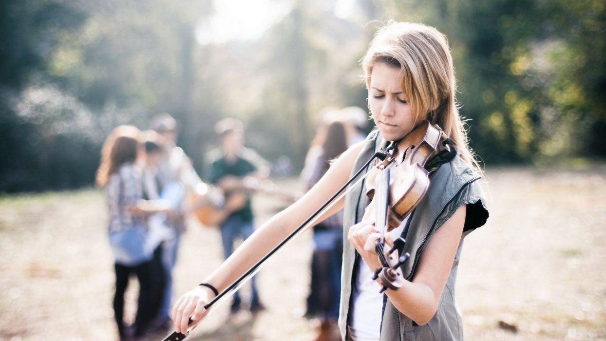 brunettes blondes women music wall violins violinist wallpaper