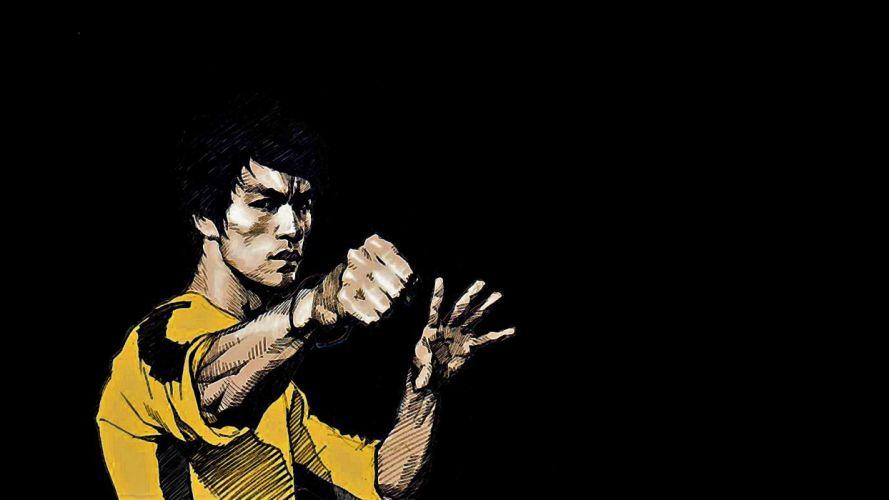 Bruce Lee black background wallpaper
