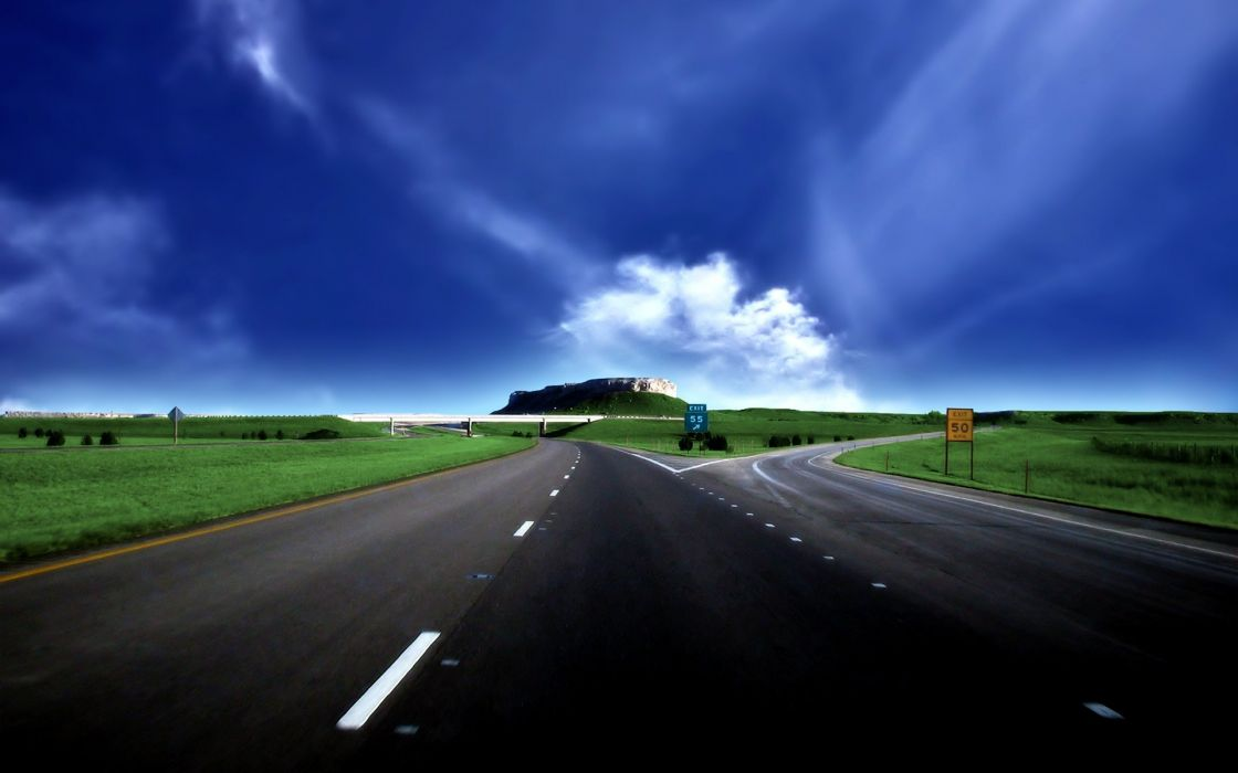 blue clouds highways roads skyscapes wallpaper
