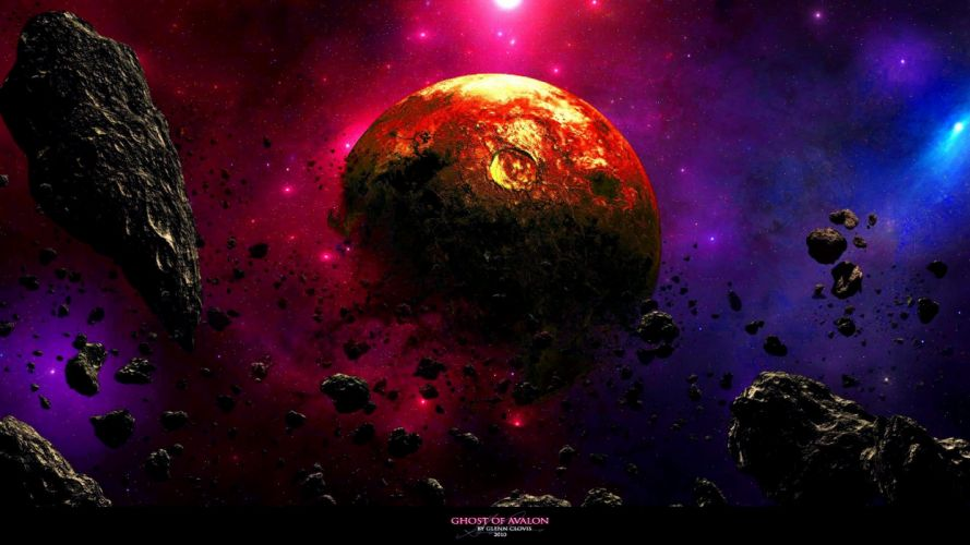 outer space galaxies planets rocks asteroids wallpaper