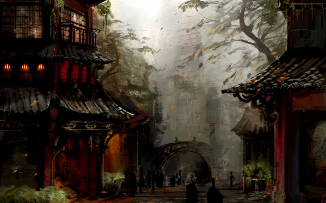 video games Guild Wars concept art Asian architecture arches wallpaper