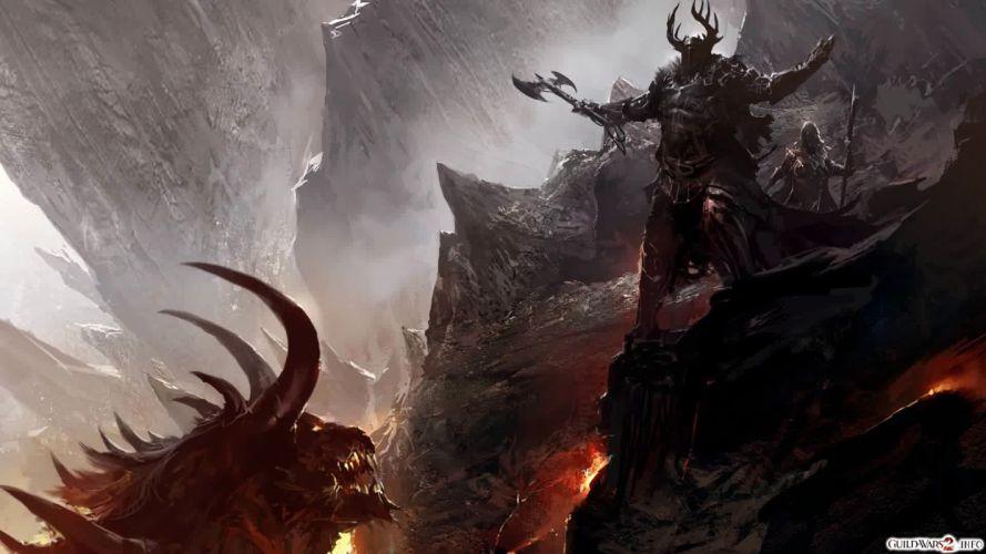 dragons devil Guild Wars concept art warriors come at me bro wallpaper