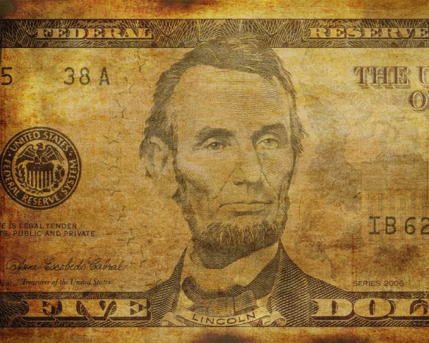 money cash Presidents of the United States dollar bills Lincoln 5 dollars wallpaper