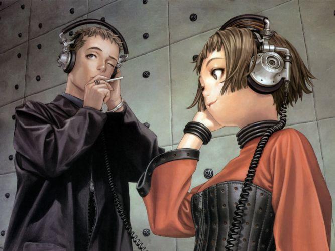 headphones smoking Range Murata wallpaper
