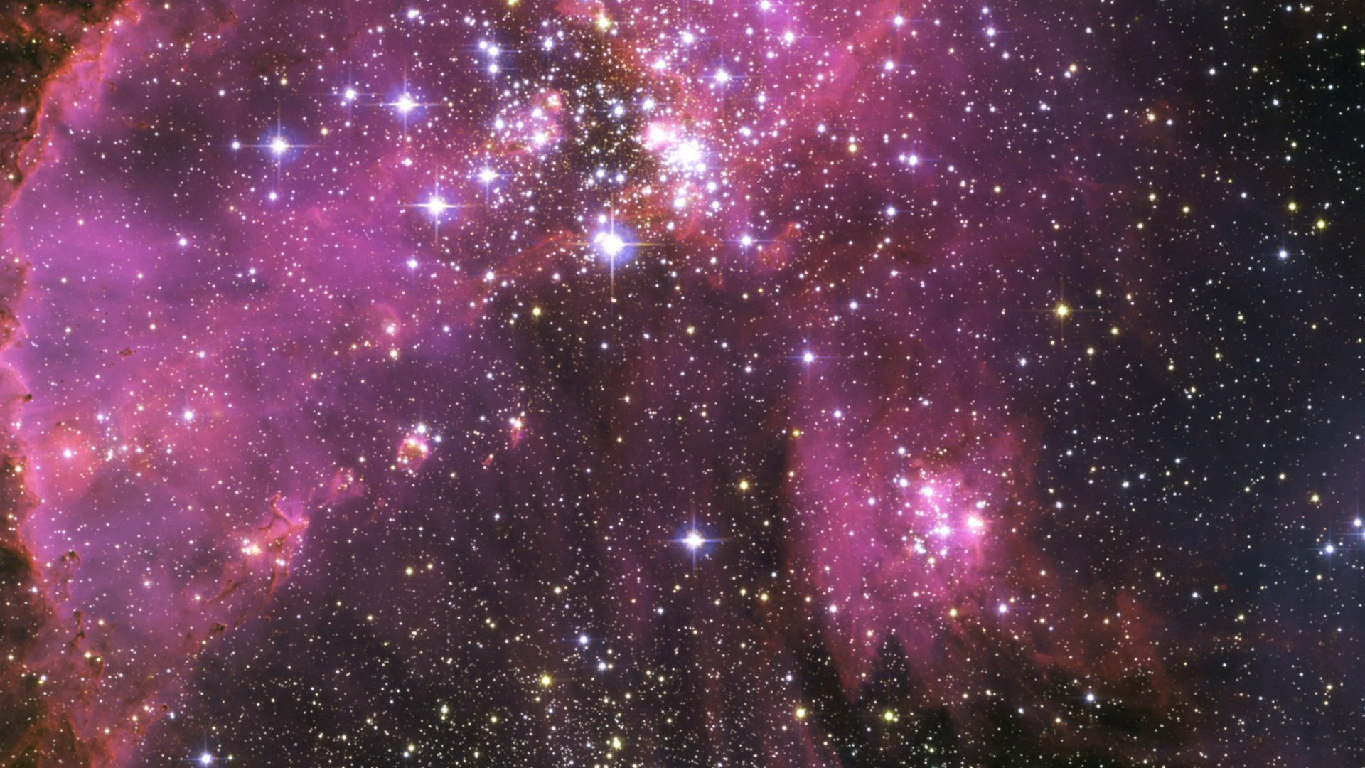 Outer Space Stars Galaxies Purple Wallpaper