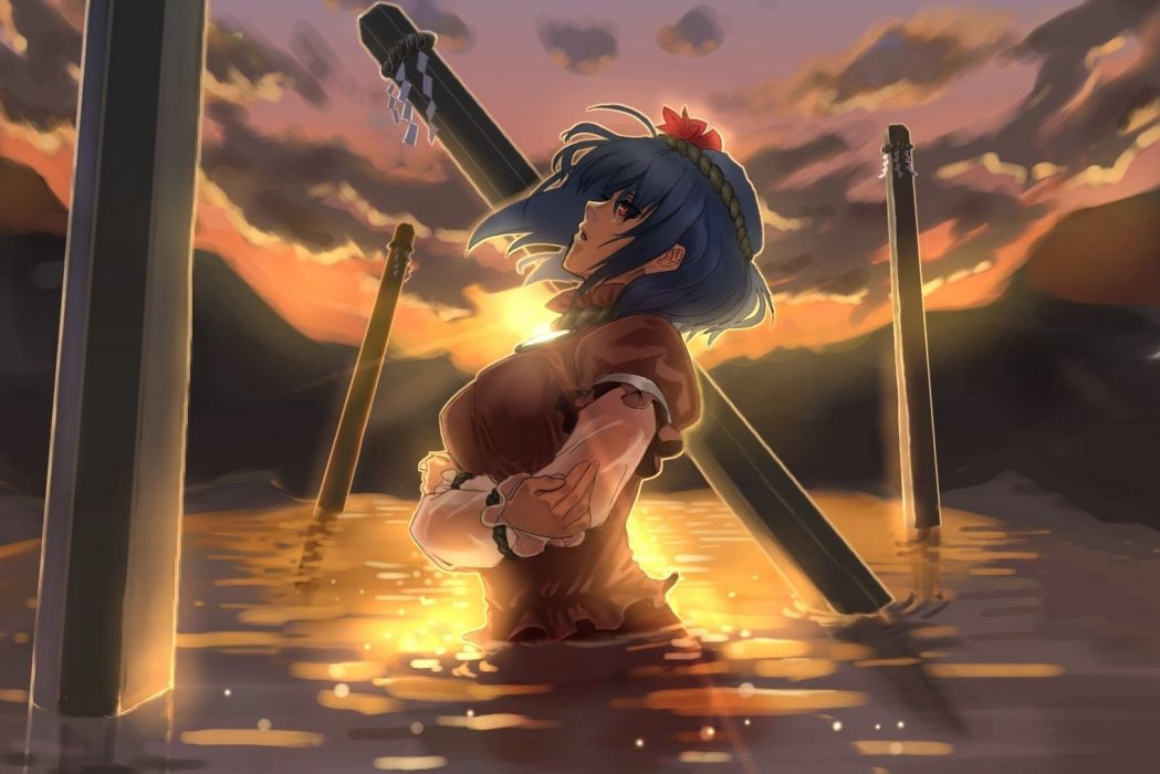 women water sunset video games clouds Touhou mirrors leaves outdoors blue hair Goddess red eyes short hair sunlight scenic lakes Yasaka Kanako profile skyscapes reflections anime girls onbashira ropes games hair ornaments bangs arms crossed skies parted l wallpaper