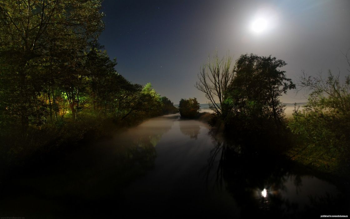 water landscapes nature trees night forests scenic lakes wallpaper