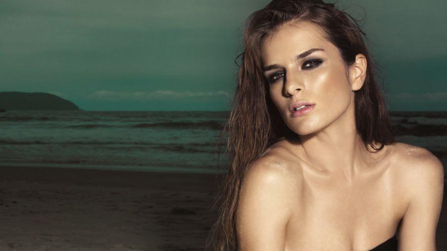 brunettes women models green eyes faces beaches wallpaper