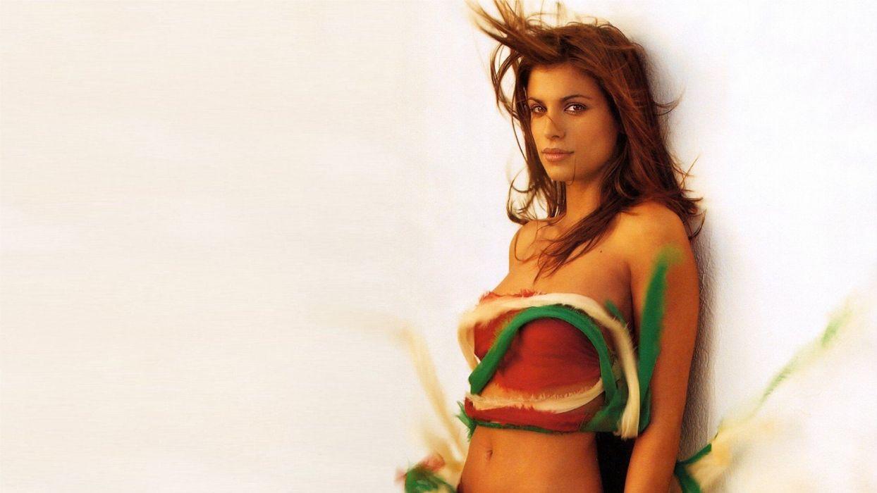 brunettes women lips brown eyes midriff Elisabetta Canalis wallpaper