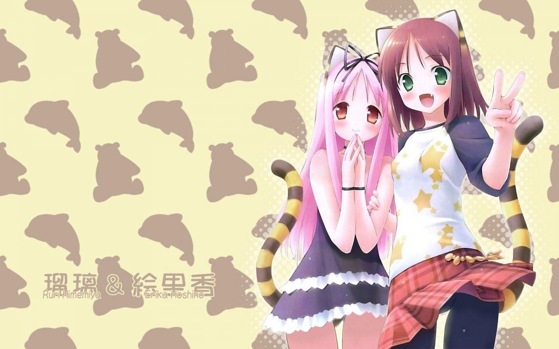 tails nekomimi animal ears visual novels Galge Garden (Cuffs) Himemiya Ruri Hoshino Erika wallpaper
