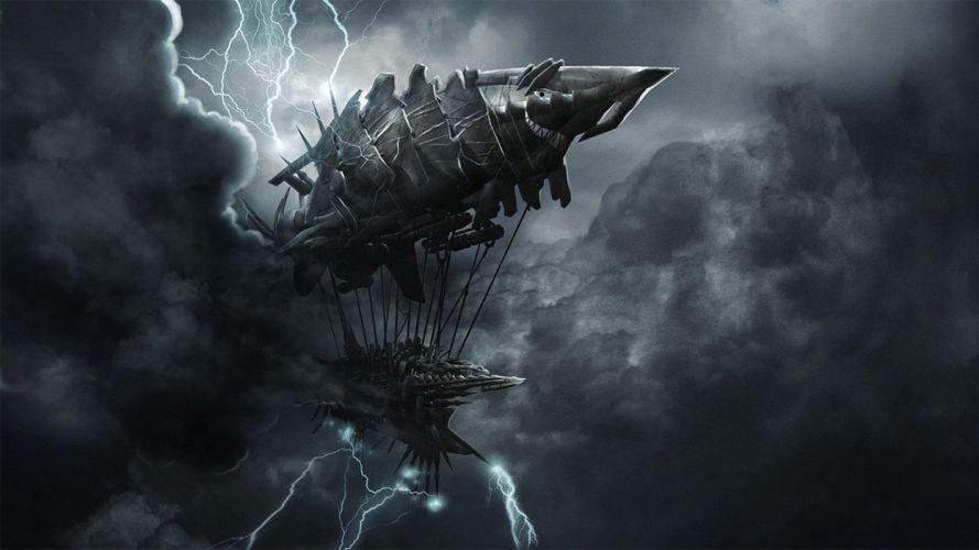 video games dark storm ships digital art airship Tesla wallpaper
