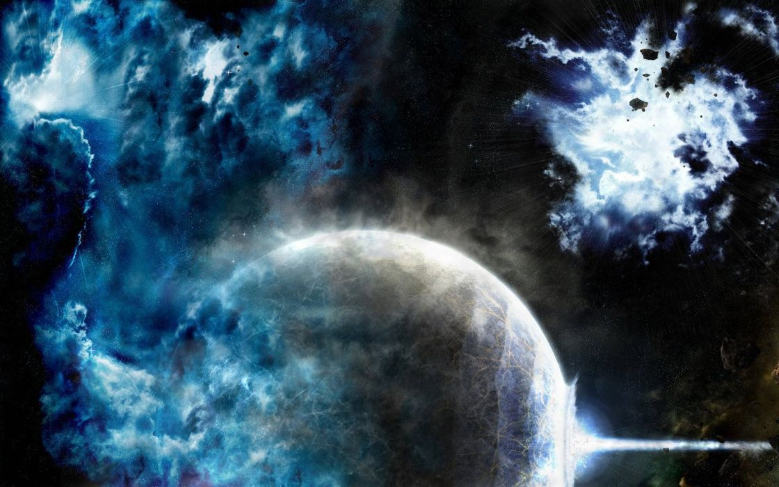 blue outer space stars planets wallpaper