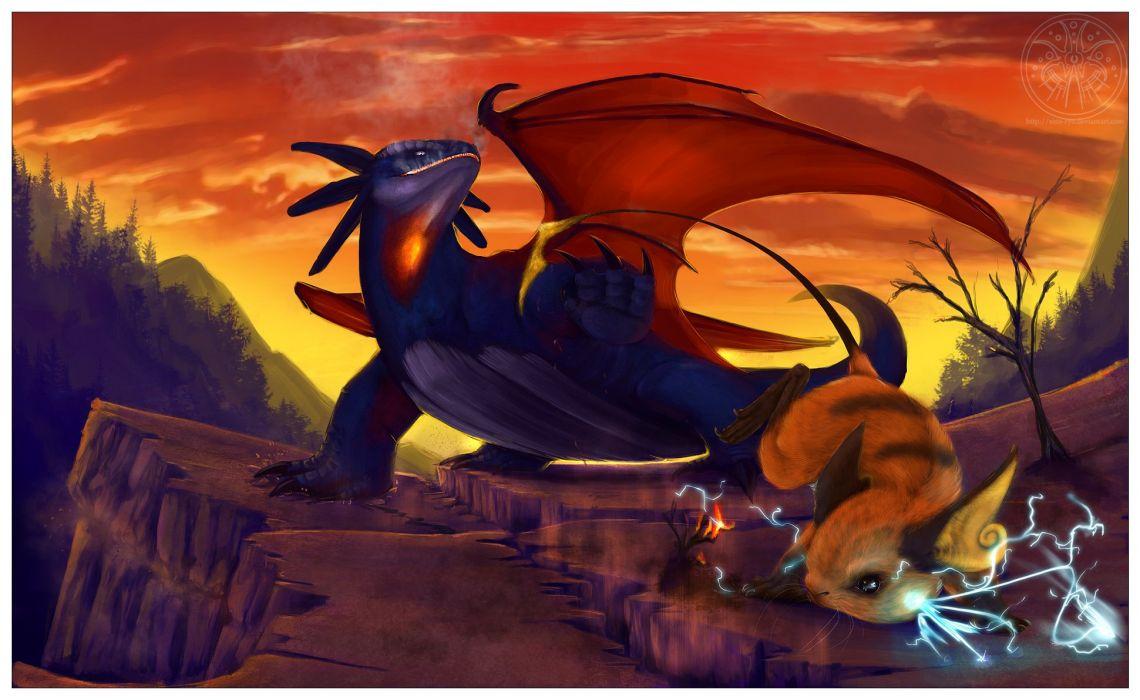 Pokemon dragons Raichu realistic Salamence wallpaper