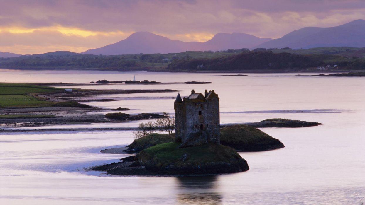 sunset Scotland Castle Stalker wallpaper