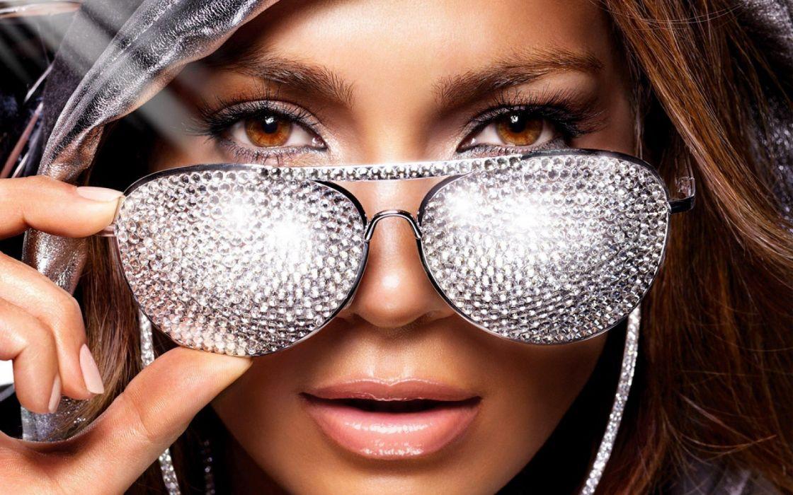 women brown eyes Jennifer Lopez sunglasses singers faces wallpaper