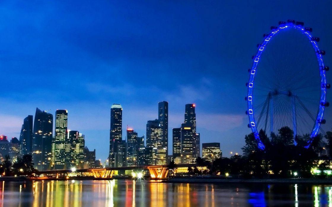 landscapes cityscapes Singapore skyscrapers ferris wheels city skyline wallpaper