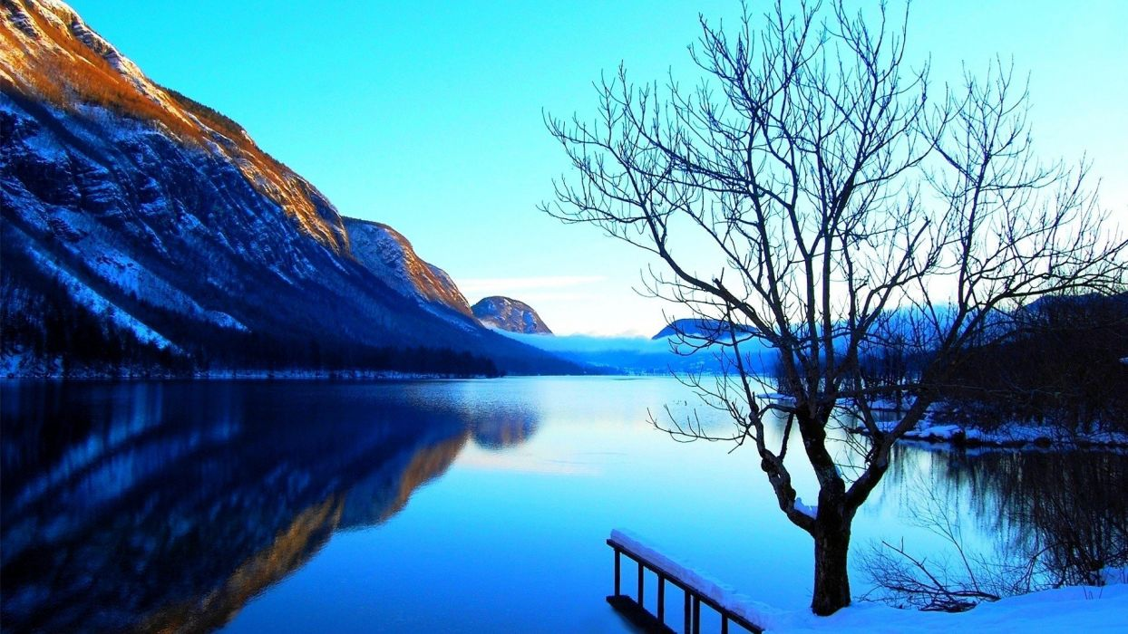 mountains landscapes nature lone tree natural scenery pure blue