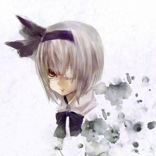 video games Touhou eyepatch Konpaku Youmu short hair bows anime girls silver hair wallpaper