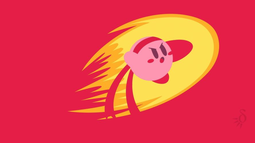 Kirby video games red simple fighter wallpaper