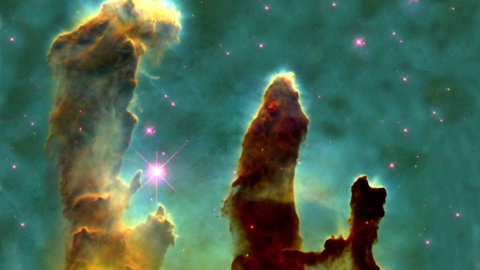 Outer space nebulae Pillars Of Creation Eagle nebula ...