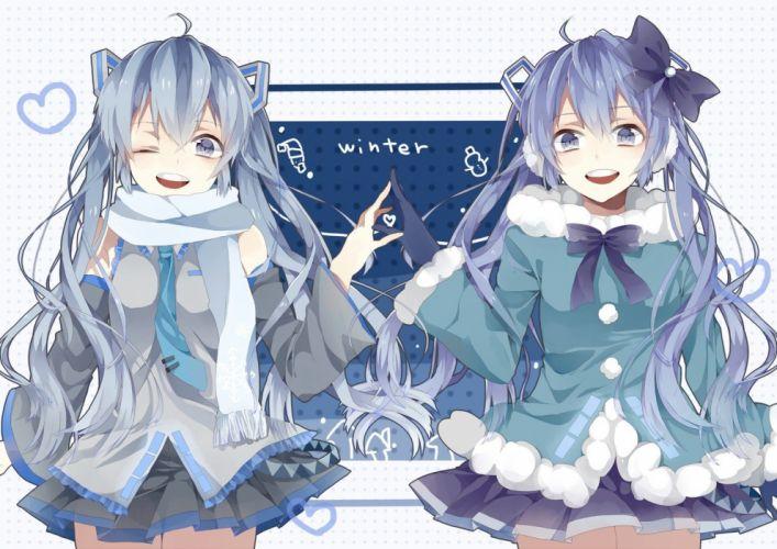 Vocaloid Hatsune Miku blue eyes tie skirts long hair blue hair twintails bows snowman wink anime girls Yuki Miku Vocaloid Fanmade wallpaper