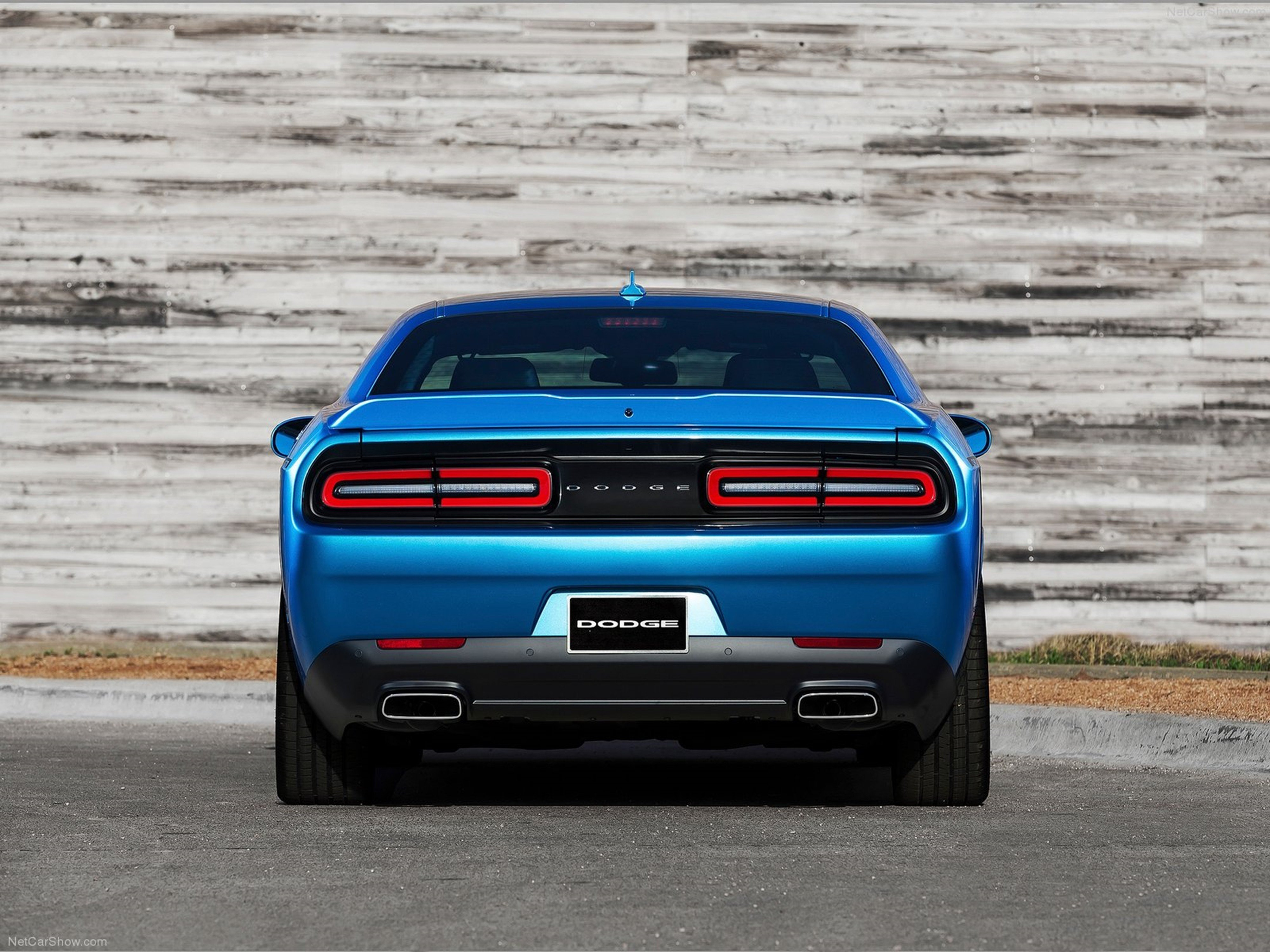 Dodge Challenger 2015 Muscle Car Wallpaper Rear Blue 4000x3000