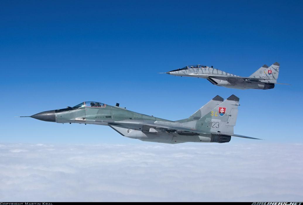 Mikoyan Gurevich MiG jet fighter air force aircraft war sky Slovakia wallpaper