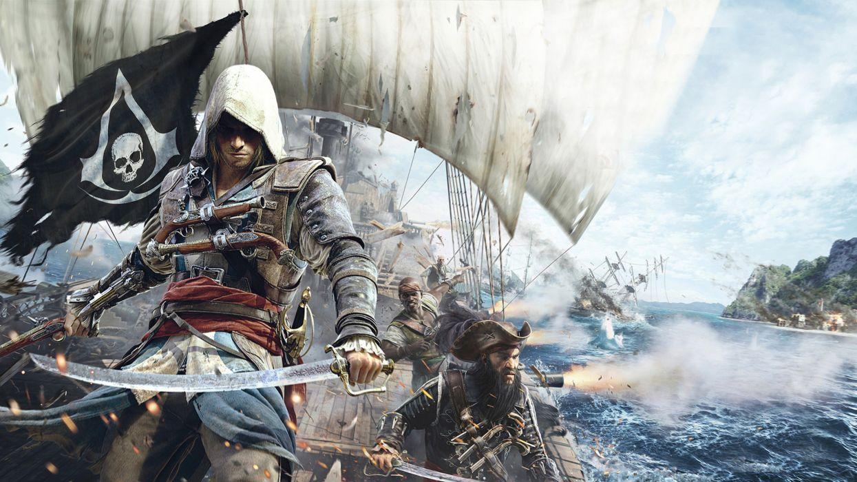 assassins creed 4 black flag game battle ship wallpaper