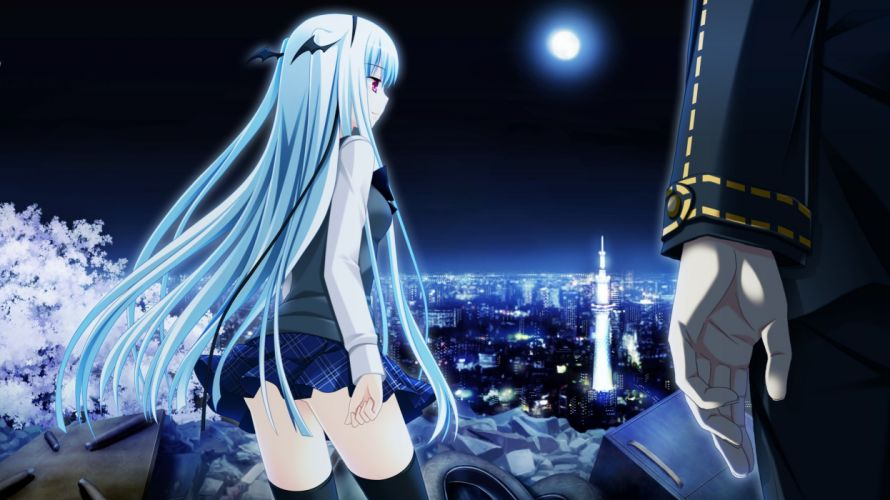 night Moon school uniforms long hair thigh highs game CG anime Makita Maki soft shading anime girls cities Shinigami no Testament wallpaper