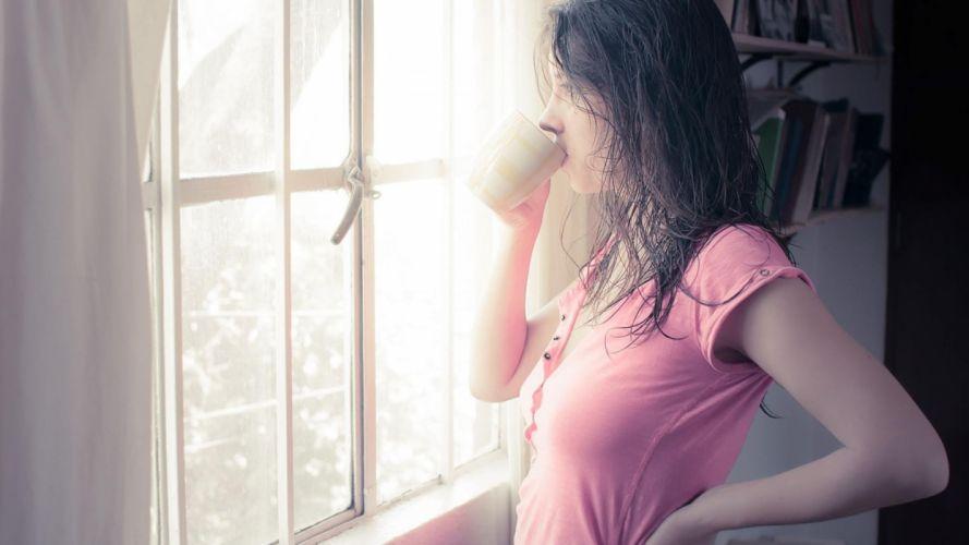 women sunlight morning wallpaper