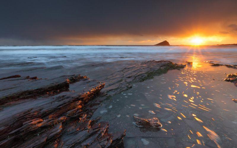 sunset landscapes nature skies sea cloud wallpaper