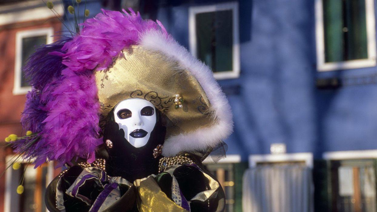 feathers masks Italy hats Venetian masks wallpaper