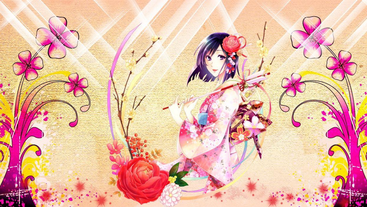 flowers ribbons kimono plants purple hair short hair traditional dressing anime bells purple eyes staff roses Japanese clothes anime girls hair ornaments wallpaper