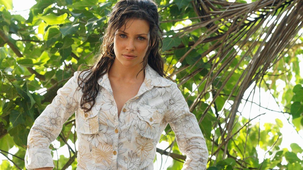 brunettes women jungle Evangeline Lilly Lost (TV Series) freckles green eyes wallpaper