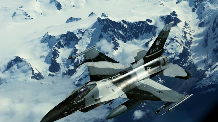 mountains aircraft F-16 Fighting Falcon flight jets wallpaper