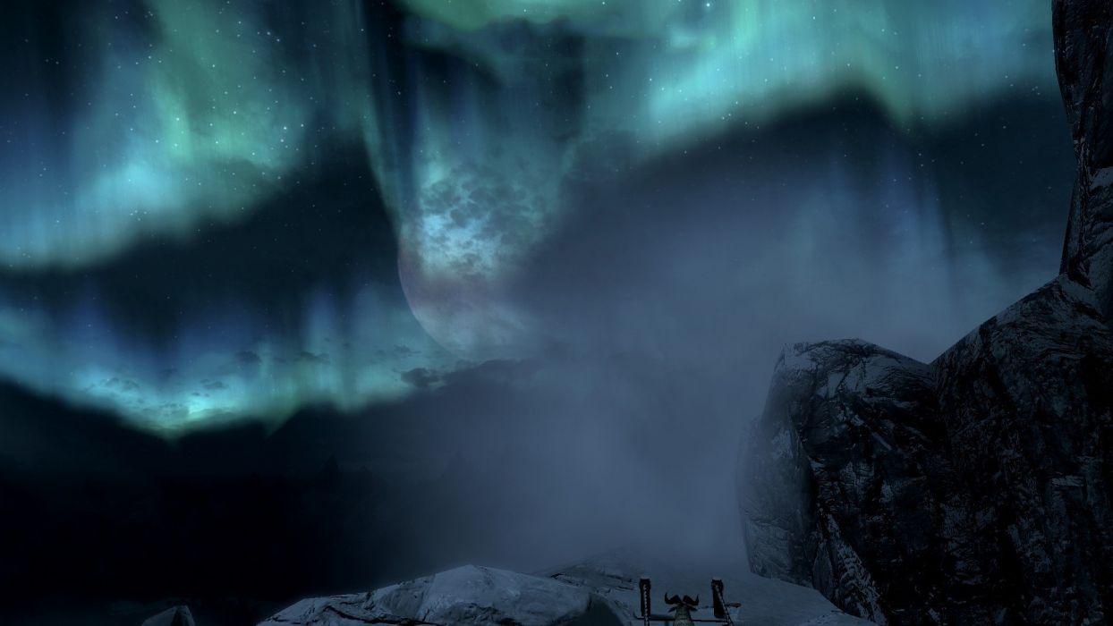 mountains snow skyscapes The Elder Scrolls V: Skyrim wallpaper