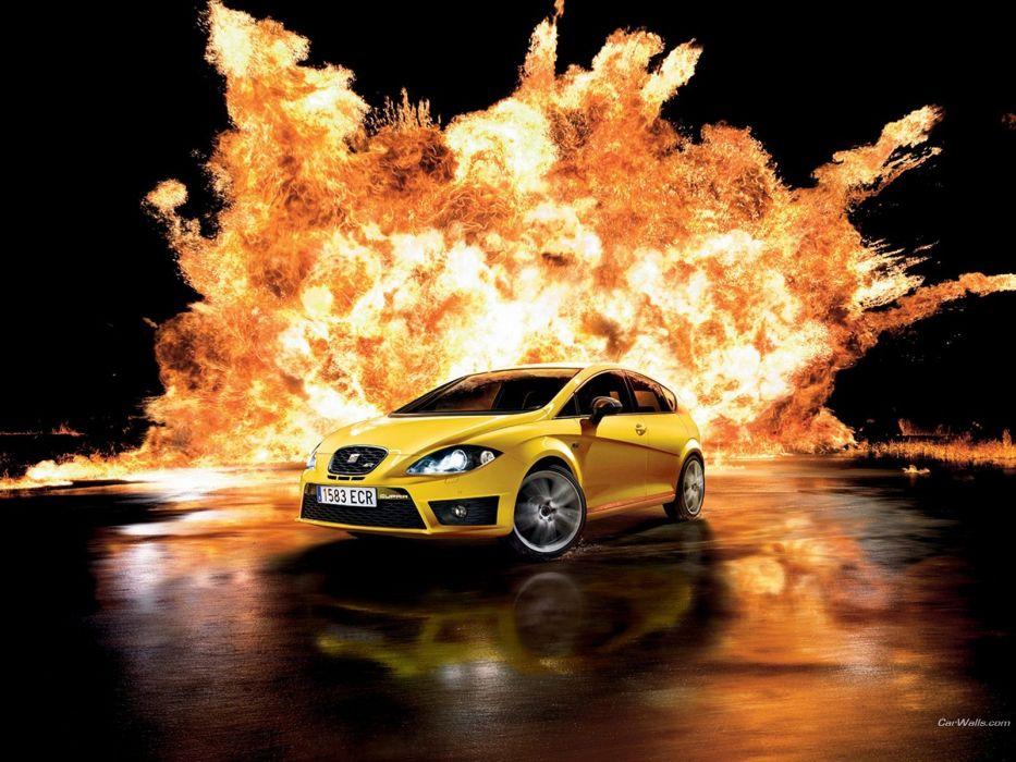 cars fire Seat Leon wallpaper
