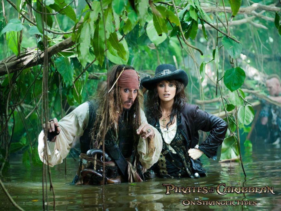 Penelope Cruz Pirates of the Caribbean Johnny Depp Captain Jack Sparrow wallpaper